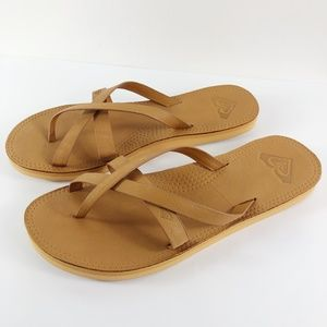 [ROXY] Leather Flip Flop Sandals NEW